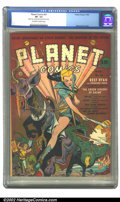 Golden Age (1938-1955):Science Fiction, Planet Comics #21 (Fiction House, 1942) CGC VF- 7.5 Off-white towhite pages. Princess Vara rules this great cover, as she p...