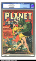 Golden Age (1938-1955):Science Fiction, Planet Comics #23 (Fiction House, 1943). This issue, Reef Ryan andPrincess Vara battle the scaled scourge of Neptune's Dusk...