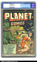Golden Age (1938-1955):Science Fiction, Planet Comics #25 (Fiction House, 1943) CGC FN/VF 7.0 Cream tooff-white pages. Zolnerowich's last cover features our heroin...
