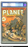 Golden Age (1938-1955):Science Fiction, Planet Comics #26 (Fiction House, 1943) CGC VF 8.0 White pages.Doolin takes over cover art this issue, and carries on the t...
