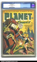 Golden Age (1938-1955):Science Fiction, Planet Comics #27 (Fiction House, 1943) CGC VF+ 8.5 Off-whitepages. Behind you, Gale! It's the Fire-Eaters of Asteroid Z! A...
