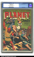 Golden Age (1938-1955):Science Fiction, Planet Comics #28 (Fiction House, 1944) CGC FN+ 6.5 Cream tooff-white pages. A great Doolin cover featuring the Space Range...