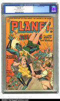 Golden Age (1938-1955):Science Fiction, Planet Comics #32 (Fiction House, 1944) CGC VF 8.0 Cream tooff-white pages. Doolin must have had to turn the entire cover a...