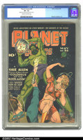Golden Age (1938-1955):Science Fiction, Planet Comics #36 (Fiction House, 1945) CGC VF- 7.5 Cream to off-white pages. On this perspectively interesting Doolin cover...