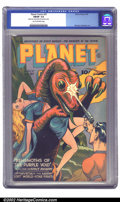 Golden Age (1938-1955):Science Fiction, Planet Comics #37 (Fiction House, 1945) CGC FN/VF 7.0 Tan tooff-white pages. The Space Rangers face off against the Behemot...