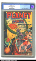"Golden Age (1938-1955):Science Fiction, Planet Comics #43 (Fiction House, 1946) CGC VF/NM 9.0 Off-whitepages. Doolin's cover features ""death rays from the sun,"" sh..."
