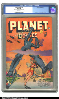 Planet Comics #48 (Fiction House, 1947) CGC VF- 7.5 Off-white pages. What a cover! Everyone runs for their lives as a gi...