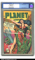 Golden Age (1938-1955):Science Fiction, Planet Comics #51 (Fiction House, 1947) CGC VF/NM 9.0 Cream tooff-white pages. Hunt Bowman is back in town, battling the Ma...