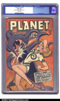 Golden Age (1938-1955):Science Fiction, Planet Comics #52 (Fiction House, 1948) CGC VF+ 8.5 Off-whitepages. A great cheesecake cover featuring Mysta of the Moon ab...