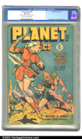 "Golden Age (1938-1955):Science Fiction, Planet Comics #55 (Fiction House, 1948) CGC VF- 7.5 Light tan tooff-white pages. Doolin's cover ""Giants of the Golden Atom,..."