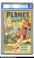 Golden Age (1938-1955):Science Fiction, Planet Comics #57 (Fiction House, 1948) CGC VF- 7.5 Off-whitepages. Hunt Bowman battles the spreading terror of Voltan Hord...