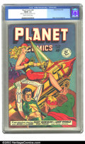 Golden Age (1938-1955):Science Fiction, Planet Comics #58 (Fiction House, 1949) CGC FN/VF 7.0 Cream tooff-white pages. Hunt Bowman and his woman take the hordes do...
