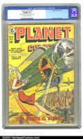Golden Age (1938-1955):Science Fiction, Planet Comics #61 (Fiction House, 1949) CGC VF/NM 9.0 Off-white towhite pages. This cover is a clean swipe from Planet ...