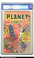 Golden Age (1938-1955):Science Fiction, Planet Comics #63 (Fiction House, 1949) CGC VF+ 8.5 Off-whitepages. Hunt Bowman battles to preserve his Citadel of Freedom ...