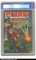 Golden Age (1938-1955):Science Fiction, Planet Comics #68 (Fiction House, 1952) CGC FN 6.0 Cream tooff-white pages. Our heroes fight their way to the ship, heavily...