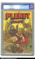 Golden Age (1938-1955):Science Fiction, Planet Comics #69 (Fiction House, 1952) CGC VF- 7.5 Off-whitepages. Can their brain-waves conquer space? Find out in this y...