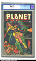 Golden Age (1938-1955):Science Fiction, Planet Comics #70 River City pedigree (Fiction House, 1953) CGCVF/NM 9.0 Off-white to white pages. Lee Elias delivers a fri...