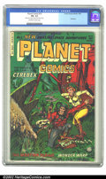 Golden Age (1938-1955):Science Fiction, Planet Comics #73 (Fiction House, 1953) CGC FN- 5.5 Off-white towhite pages. Space travelers have one more go around with i...