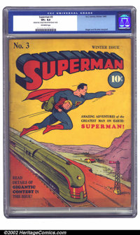 Superman #3 (DC, 1940) CGC VF+ 8.5 Off-white pages. Early Supermans are quite tough to find in high-grade, which is stra...