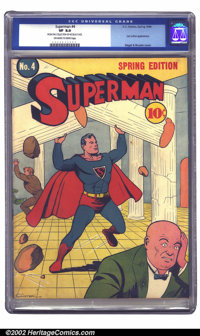 Superman #4 (DC, 1940) CGC VF 8.0 Off-white to white pages. Quite popular among collectors, Superman #4 was the first is...