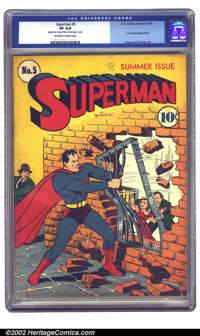 Superman #5 (DC, 1940) CGC VF 8.0 Off-white to white pages. A great cover showing Superman making his own entrance, supe...