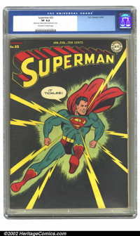 Superman #32 (DC, 1945) CGC VF 8.0 Off-white to white pages. Featuring a jet-black cover, this high-grade copy really st...