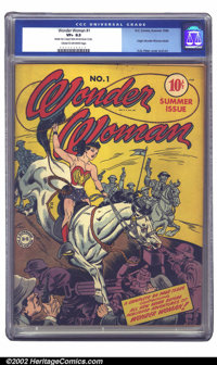 Wonder Woman #1 (DC, 1942) CGC VF+ 8.5 Cream to off-white pages. After her success in All Star #8 and Sensation, Won