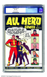 All Hero Comics #1 (Fawcett, 1943) CGC VF+ 8.5 Off-white to white pages. It's a bit far-fetched to think anyone would ha...