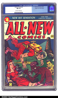 All-New Comics #4 Mile High pedigree (Harvey, 1943) CGC NM 9.4 Off-white to white pages. This wild cover has elements of...