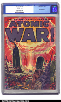 Atomic War! #1 (Ace, 1952) CGC VF/NM 9.0 Cream to off-white pages. Atom bomb covers are highly prized and this one is as...