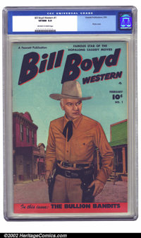 Bill Boyd Western #1 (Fawcett, 1950) CGC VF/NM 9.0 Off-white to white pages. For a few years this title ran simultaneous...