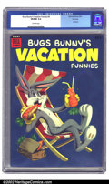 Golden Age (1938-1955):Funny Animal, Bugs Bunny's Vacation Funnies #4 Dell File copy (Dell, 1954) CGCVF/NM 9.0 Off-white pages. This Dell Giant has a perfectly ...