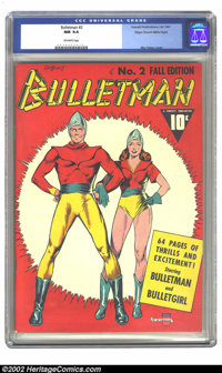 Bulletman #2 Mile High pedigree (Fawcett, 1941) CGC NM 9.4 Off-white pages. Mac Raboy was one of the most talented Golde...