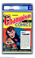 """Golden Age (1938-1955):Adventure, Champion Comics #2 (Harvey, 1939) CGC VF- 7.5 Cream to off-white pages. This early Harvey offering entered the Golden Age """"H..."""