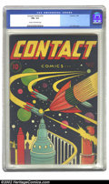 Golden Age (1938-1955):Science Fiction, Contact Comics #12 (Aviation Press, 1946) CGC FN+ 6.5 Cream tooff-white pages. L. B. Cole is known for creating comic cover...
