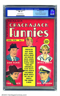 Crackajack Funnies #1 Denver pedigree (Dell, 1938) CGC NM- 9.2 Off-white to white pages. Debuting at virtually the same...