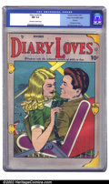 Golden Age (1938-1955):Romance, Diary Loves #2 Mile High pedigree (Quality, 1949) CGC NM 9.4Off-white to white pages. If this doesn't start your heart aflu...