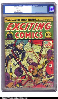Exciting Comics #28 (Nedor Publications, 1943) CGC NM 9.4 White pages. Seasoned collectors know that this book NEVER sho...