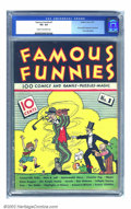 Platinum Age (1897-1937):Miscellaneous, Famous Funnies #1 (Eastern Color, 1934) CGC VG- 3.5 Cream tooff-white pages. One look at the condition of this book, and yo...