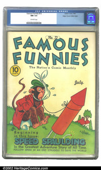 Famous Funnies #72 Mile High pedigree (Eastern Color, 1940) CGC NM 9.4 Off-white pages. This is the highest CGC-graded c...