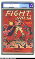 Golden Age (1938-1955):Miscellaneous, Fight Comics #1 (Fiction House, 1940) CGC FN+ 6.5 Off-white pages. This striking Will Eisner cover, the bright red backgroun...