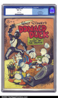 Golden Age (1938-1955):Cartoon Character, Four Color Comics #159 (Dell, 1947) CGC NM+ 9.6 Off-white pages. Carl Von Buettner contributed with the duck action cover; m...