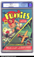 Golden Age (1938-1955):Superhero, Funnies #57 Mile High pedigree (Dell, 1941) CGC NM+ 9.6 Off-white pages. This key book has the origin and first comic book a...