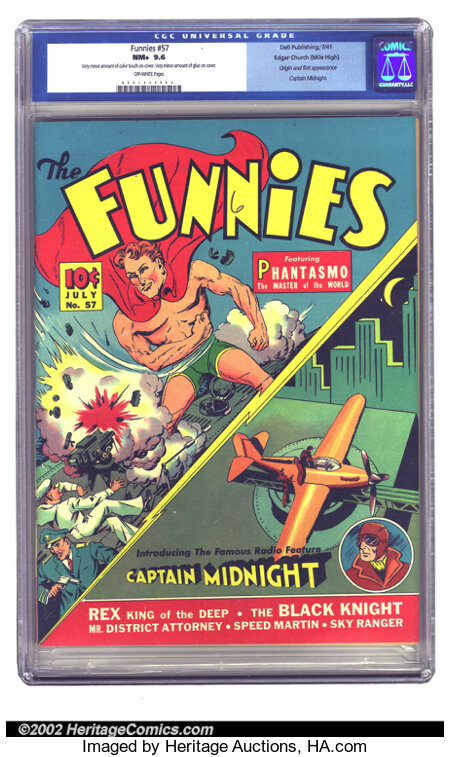 Funnies #57 Mile High pedigree (Dell, 1941) CGC NM+ 9.6 Off-white pages. This key book has the origin and first comic book a...