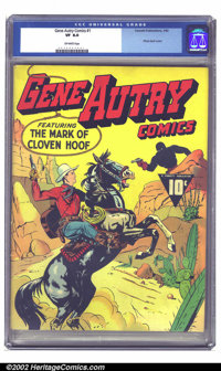 Gene Autry Comics #1 (Fawcett, 1941) CGC VF 8.0 Off-white pages. This is a beautiful copy of Gene and Champion's premier...