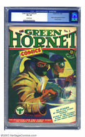 Golden Age (1938-1955):Superhero, Green Hornet Comics #1 (Harvey, 1940) CGC VF+ 8.5 Off-white pages. This painted pulp-like cover signaled the highly successf...