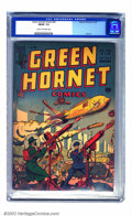 Golden Age (1938-1955):War, Green Hornet Comics #24 (Harvey, 1945) CGC FN/VF 7.0 Cream tooff-white pages. This war-themed cover shows hints of sci-fi, ...