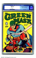 Golden Age (1938-1955):Superhero, Green Mask #1 Mile High pedigree (Fox Features Syndicate, 1940) CGC NM- 9.2 White pages. Along with Alex Schomburg and L. B....
