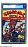 Golden Age (1938-1955):War, Headline Comics #4 Mile High pedigree (Prize, 1943) CGC FN 6.0White pages Even more of an anomaly then the Mile High copy o...