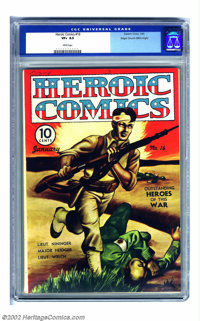 Heroic Comics #16 Mile High pedigree (Eastern Color, 1943) CGC VF+ 8.5 White pages. This issue focuses on some of the re...